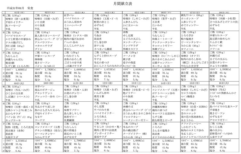 献立一覧表(2019年4月)