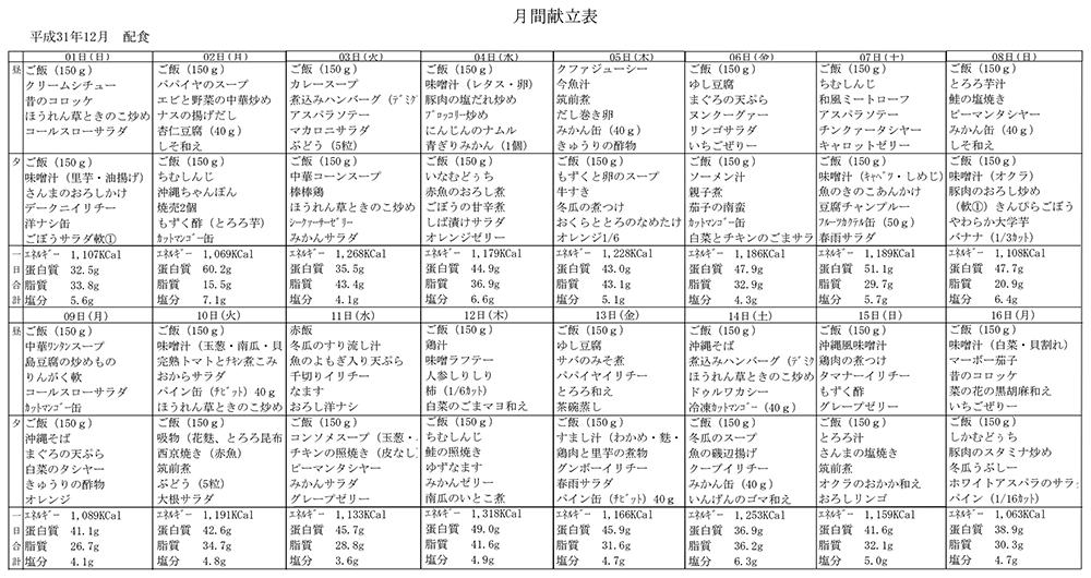 献立一覧表(2019年12月)